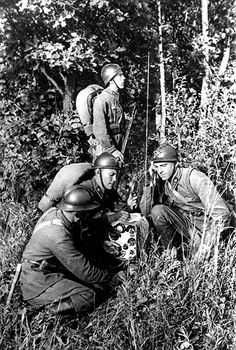 Red Army radio team exercises. Sometime between 1922 and 1941.