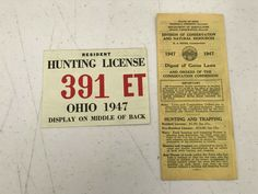 Hunting License, Ohio, Law, Vintage, Columbus Ohio