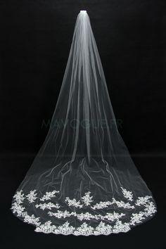 Voiles Cathédrale de Mariage 1x Forme cascade Bordure en applique dentelle Avec applique