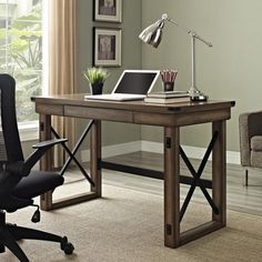 Create a stunning work space with the Altra Wildwood Wood Veneer Desk. This desk adds a distinctive designer touch to any space, without the designer price tag. The large desktop surface is for your laptop, desk accessories and papers. Home Office Desks, Home Office Furniture, Living Room Furniture, Office Workspace, Office Table, Workspace Design, Rustic Desk, Rustic Chair, Rustic Office