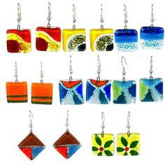 Zee Bee Market LLC - Square Fused Glass Earrings