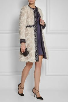 Matthew Williamson|Embellished wool-paneled mohair coat|NET-A-PORTER.COM