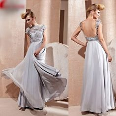 Designer Gray Grey Backless Evening Ball Gowns Occasion Dresses SKU-122028