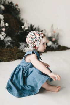 Briar Organic Floral Bonnet in Wild Poppy