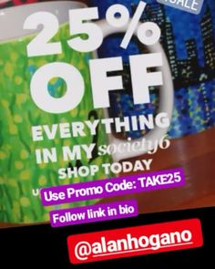 .. 25% off everything at my Society6 webshop now with promo code: TAKE25 - follow link in my bio @alanhogano .....Offer Started yesterday (sorry!😬) 5 August @ 12:00am PT .....Ends: Monday, 6 August @ 11:59pm PT. . . #society6offers #discount #society6shop #specialdeals #offers #dealoftheday #deals #moneyoff #artdeals #homedecor #redecorate #shareyoursociety6 #whileofferlasts #saleoffers #fall #summersale #artlovers #summer2018 #artofig #promo #videoviral #salespromotion #s6 #society6…