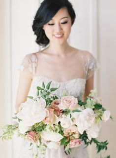 Jen Huang  Carneros Inn Wedding  Studio Mondine Floral Design White Peony Garden Rose Bouquet