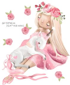 Kids Room Wall Decals, Animal Wall Decals, Wall Decal Sticker, Watercolor Walls, Watercolor Flowers, Rainbow Wall Decal, Rabbit Photos, Baby Girl Room Decor, Unicorn Wall