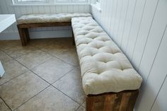 Tufted Wool-Filled Bench Cushion / 3 thick / by TheHomeOfWool
