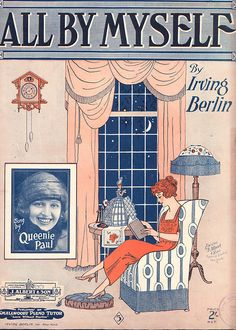 """1921 Sheet Music - """"All By Myself"""" by Irving Berlin"""