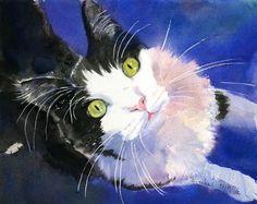 Tuxedo Cat Black White Art PRINT of my watercolor painting. $25.00, via Etsy.