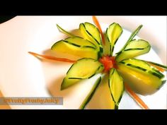 Very Sexy Cucumber Art & Flower Design - Fruit & Vegetable Carving & Cutting Garnish - YouTube