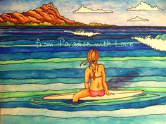 Surf Art - Waikiki, Hawaii Surfer Girl -  Diamond Head, Ocean - Colorful, Pretty. $12.00, via Etsy.