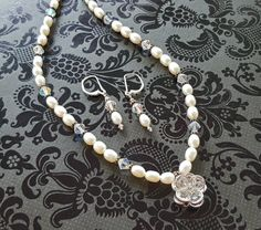 White Cultured Pearl Swarovski Crystal Necklace by STBridal @roxannecoffelt