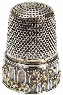 French Garlands, Flowers, and Bows Sterling Silver thimble.