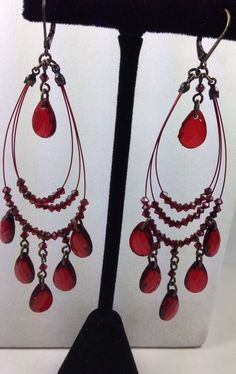 AVON Red Fashion Jewelry Dangle/Drop Light wire Earrings -NICE #Avon #DropDangle