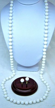 """MONET NECKLACE 28"""" HAND KNOTTED MILK GLASS, EARRINGS SET SIGNED #Monet"""