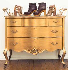 love this gold dresser