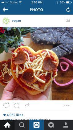 Vegan heart pizza