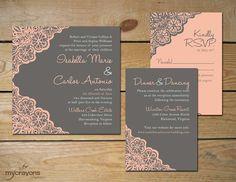 Rustic Lace Wedding Invitation Set