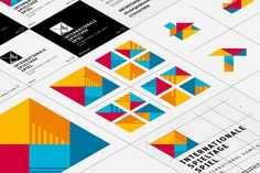 Love these vibrant, interlocking shapes Graphic Design Studios, Graphic Design Branding, Corporate Design, Zimmermann, Web Design, Print Layout, Design Graphique, Business Branding, Visual Identity