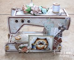 Eine kleine Nämaschine 3d Paper Crafts, Fun Crafts, Diy And Crafts, Coloring Pages Winter, Sewing Cards, Shabby Chic Crafts, Altered Boxes, Stamping Up, Diy Projects To Try