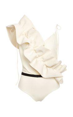 M'O Exclusive La Perla Ruffle One Piece Swimsuit by JOHANNA ORTIZ Now Available on Moda Operandi