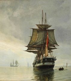 """Christian Mølsted (1862-1930): The frigate """"Jylland"""" (Jutland) in the Sound, calm day, 1899"""