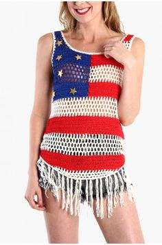 LoveMelrose.com From Harry & Molly | American Flag Crochet Tank Top crochet tank top, flags, crochet flag, american flag crochet, tanks