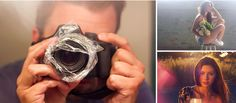 Imaginarium - Técnicas caseiras | Fotos - Com um saquinho plástico ao redor da lente você já vai conseguir o efeito fog, aquele que fica uma névoa na imagem, e muitas vezes também obtém o efeito flare, que é quando a luz reflete e aparece na imagem.