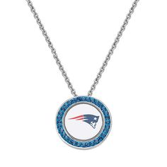 "New England Patriots Team Logo Crystal Pendant Necklace - Made with Swarovski Crystals, Women's, Size: 18"", Blue"