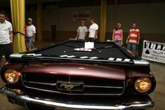 A Mustang Pool Table! We wonder if the balls roll faster on this thing than your average pool table? Man Cave Furniture, Car Furniture, Ultimate Man Cave, Dream Car Garage, Old Car Parts, Man Cave Garage, Automotive Art, Old Cars, Custom Cars