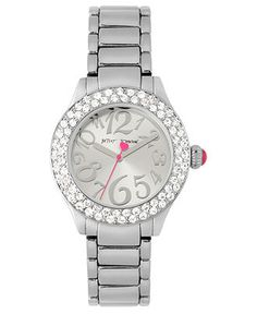 Betsey Johnson Watch, Women's Silver Tone Bracelet 36mm BJ00191-01 - All Watches - Jewelry & Watches - Macy's