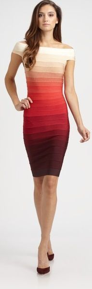 Sunset Toned Bandage Dress... could do without the cream to white top