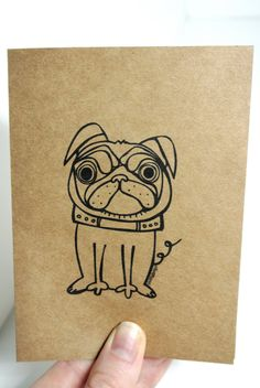 Pug Dog Card Set of 2  - Elle Karel Original Illustration on Kraft Paper Animal Greeting Thank You Cute Pet Bulldog Blank Black Brown