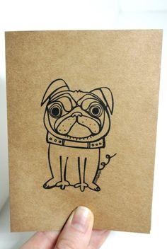 Pug Dog Card Set of 2 - Elle Karel Original Illustration on Kraft Paper Animal Greeting Thank You Cute Pet Bulldog Blank Black Brown