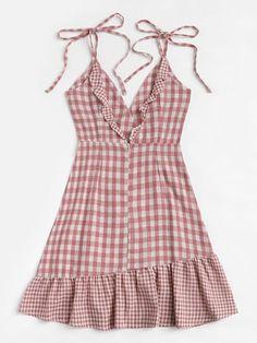Knot Shoulder Ruffle Hem Checked Cami Dress [dress180622315] - €30.17 : cuteshopp.com Plaid Dress, Dress P, Pink Fashion, Fashion Outfits, Women's Fashion, Fasion, Fashion Ideas, Vestidos Online, Vestido Casual