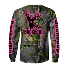 Long Sleeve Realtree APG Camo with Logo, small logo on front and large logo on back. BuckedUp® down each sleeve. 100% Cotton men's styled shirt. Please choose s