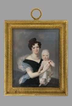 Millet, Frederic (1786-1859) Portrait of Sofia Potocka, nee Branicka with child (Maria Potocka) 1830, Warszawa, Muzeum Narodowe