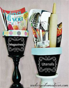 Flower Pot Organization as a cute practical gift or for your craft room or kitchen. Flower Pot Crafts, Clay Pot Crafts, Fun Crafts, Pot Organization, Utensil Organizer, Organizing Ideas, Terracotta Flower Pots, Diy Chalkboard, Kitchen Chalkboard
