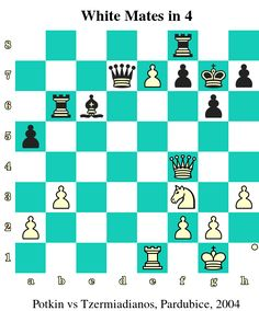 White Mates in 4. Potkin vs Andreas Tzermiadianos, Pardubice, 2004 www.chess-and-strategy.com #echecs #chess #ecole #schach #ajedrez