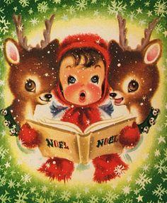 Vintage #Christmas Card #deer