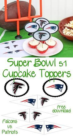 Super Bowl 51 Free Cupcake Toppers - Download these Free Super Bowl Cupcake Toppers that feature the Atlanta Falcons and the New England Patriots. They are the perfect party printables for your game day football party.