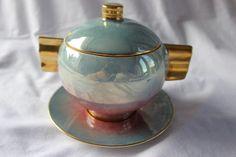 ART DECO CARLTON WARE TURQUOISE PINK BLUE GREEN LUSTRE PRESERVE / SUGAR POT BOWL