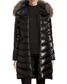 Moncler Shiny Quilted Down Coat w/Fox Fur Hood or Albizia Hooded Puffer Jacket
