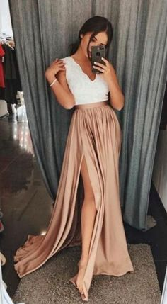 A-Line Prom Dress,Long Prom Dress,V-Neck Brown Elastic Satin