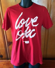 Love OKC T-Shirt Large Red EUC Oklahoma City State USA Okie Tee Top Home Pride #Canvas #BasicTee