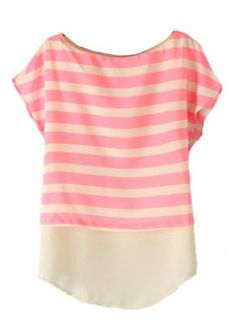 Red Short Sleeve Striped Chiffon Blouse
