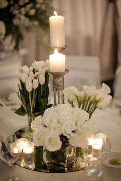 60 simple and elegant ideas for all white wedding colors - . 60 simple and elegant ideas for all white wedding colors - - Spring Wedding Centerpieces, White Wedding Decorations, Flower Decorations, Wedding Ideas, Centerpiece Flowers, Table Flowers, Diy Wedding, Fall Wedding, Wedding Events