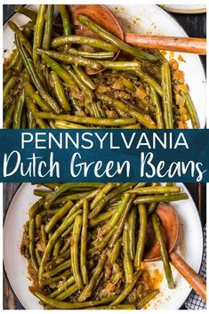 This Green Beans and Bacon recipe is an easy and delicious way to prepare green beans! The beans are crispy and crunchy, plus loaded with flavor from the mustard and Worcestershire sauce and ...bacon! Perfect recipe for the Fall and the Winter, but awesome any time. Side Dishes Easy, Vegetable Side Dishes, Side Dish Recipes, Tasty Dishes, Dishes Recipes, Purple Green Beans Recipe, Green Beans With Bacon, Bacon Recipes