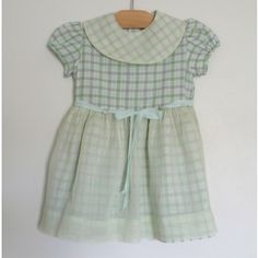 Vintage pale green and grey checkered cotton toddler dress with organdy overlay circa 1950.